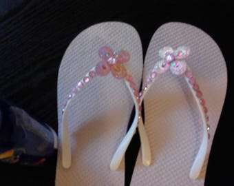 Blinged out Flip Flops