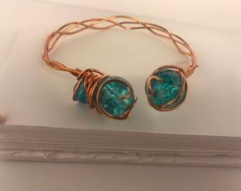 Braided Copper Bracelet feat. Azure Quartz
