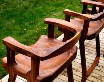Set of Walnut Stools with Backs