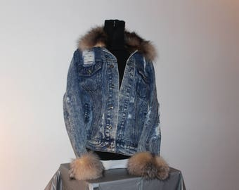Cut-up Jean Jacket with Real Fox Collar and Cuff
