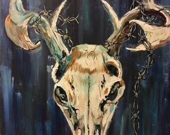Unique acrylic skull painting 16x20