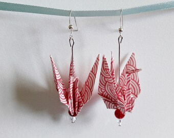 Origami Japanese crane - red earrings