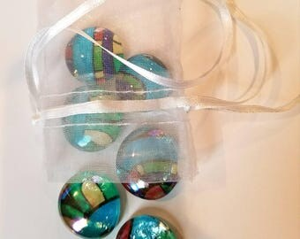 Set of 6 handmade Glass Marble  Magnets