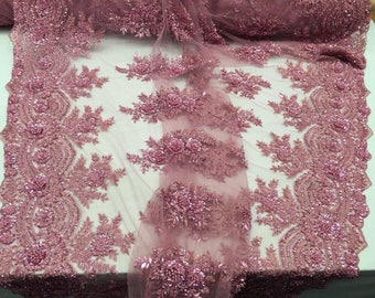 royaltyfabric bridal wedding heavy beaded mesh lace fabric pink. Sold by the yard