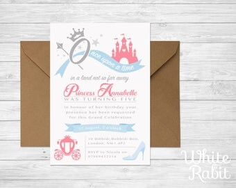 Princess Party Invitation with envelope