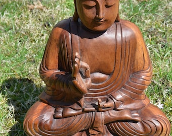 Large sitting Meditating Buddha 16 1/2 Inches Tall