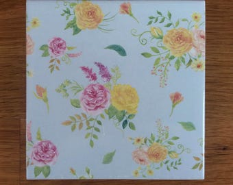 Pale Blue Floral Pattern Ceramic Wall Tile