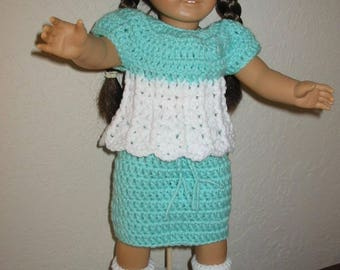 "Crocheted Mint Green Skirt and Top/American Girl or 18"" doll"