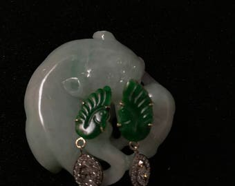 Antique Chinese Jade diamond earring