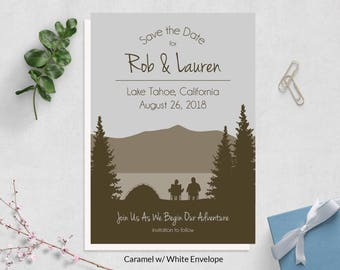 Camping Save the Date Card ~ Mountain Save the Date ~ Mountain Wedding Save the Dates ~ Woodland Save the Date Card ~ Rustic Save the Date