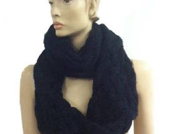 The Twist Infinity Twist Cable Knit Scarf (Black)