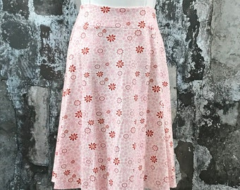 Size 10, 12, 14--Organic Knit Skirt in Pink Embroidery knit
