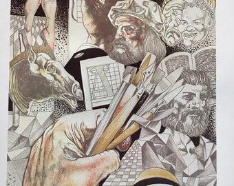 Vintage Leonardo Da Vinci World Arts Culture Graphic Art Poster Print