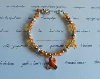 Orange Ribbon Awareness Bracelet, Orange Ribbon Bracelet, Awareness Bracelet, MS Bracelet, CRPS/RSD, Leukemia, Lupus, Kidney Cancer