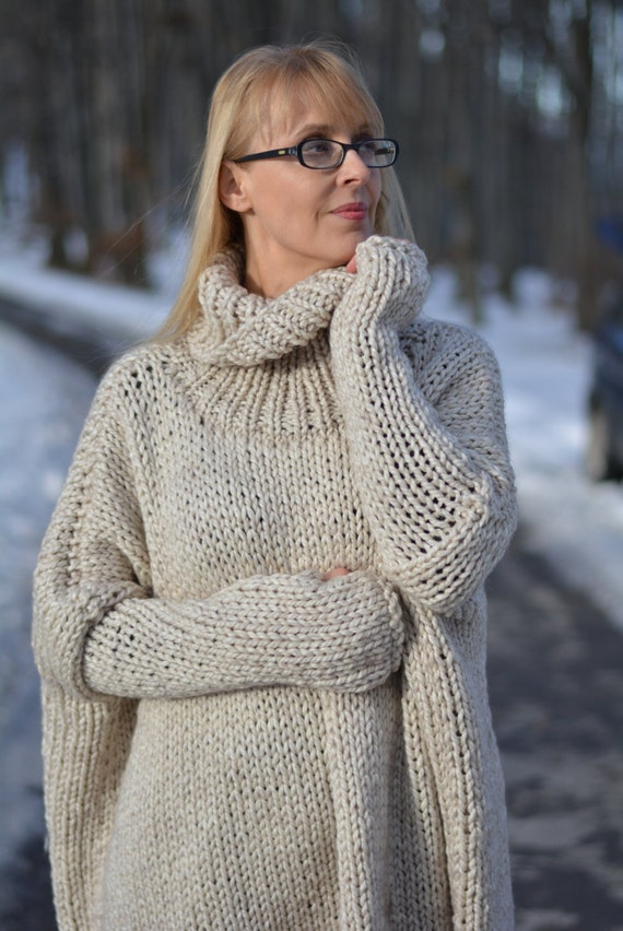 READY handmade wool sweater hand knitted Jumper slouchy