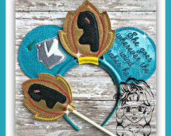 INDIAN PRiNCESS Inspired Character (4 Piece) Mr Miss Mouse Ears Headband ~ In the Hoop ~ Downloadable DiGiTaL Machine Emb Design by Carrie