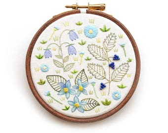 Embroidery Hoop Art, Blue Wildflower Embroidery