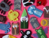 Special Listing for Caroline - Hand Stitched Finger Puppets