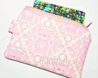 bear pink loyalty card holder purse, travel organizer, sac a main, portefeuille, id1370173, portemannaie, id lanyard zip pouch, gift