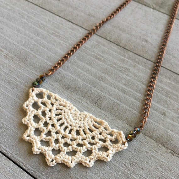 "Crochet Necklace Boho Chic Necklace Crocheted Necklace Pendant Festival Jewelry Gift for Her  - 19"" Chain with Crochet Lace in Ivory"