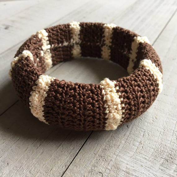 Boho Crochet Bangle Bracelet Wide Chunky Stack Bracelet Hippie Gypsy Gift for Her Mothers Day Birthday Gift - Dark Brown and Linen