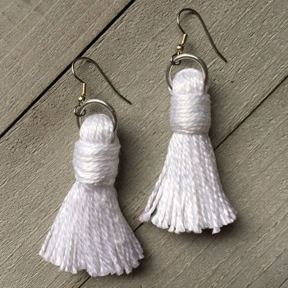 "White Tassel Earrings, Dangle Statement Earrings, Boho Earrings, Tassel Jewelry -  2"" Classic Cotton Plain Tassel - Gift For Her"