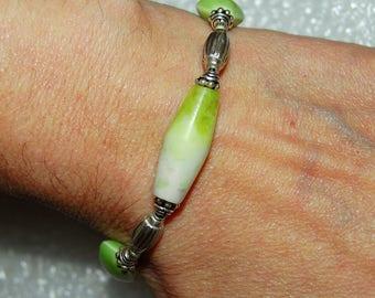 Lime Green Afghani Jade Bracelet with Wasabi Pearls