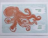 Octopus letterpress print