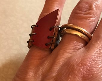 Red and Brown Leather Polygon Ring Size 6 1/4 - ALL PROFITS donated to the ACLU