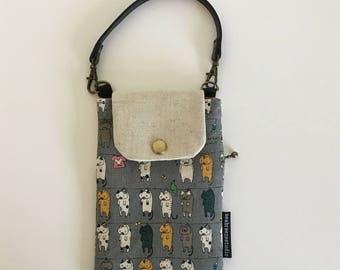Smartphone case - cats on clothesline grey