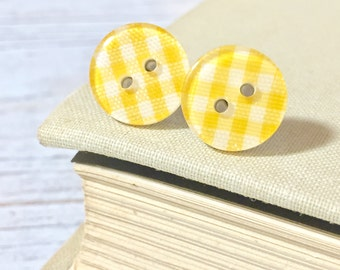Yellow Plaid Earrings, Lemon Yellow Post Earrings, Button Stud Earrings, Surgical Steel, Yellow Gingham Sewing Button Post Earrings (LB1)