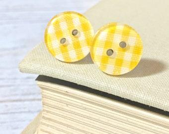 Yellow Plaid Earrings, Lemon Yellow Post Earrings, Button Stud Earrings, Surgical Steel, Yellow Gingham Sewing Button Post Earrings (LB1)