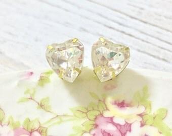 Rhinestone Heart Earrings, Crystal Heart Studs, Bridesmaid Ear Studs, Heart Stud Earrings, Valentine Heart Stud Earrings
