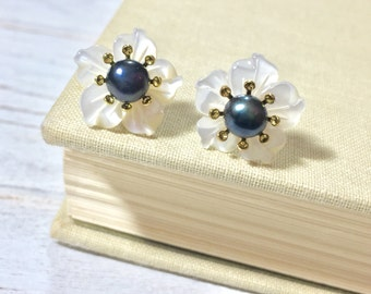 Pearl Flower Studs, Bridal Flower Studs, Wedding Pearl Earrings, Pearl Flower Earrings, Carved Flower Studs, KreatedByKelly (HJ3)