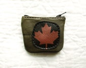 SALE Maple Leaf Coin Purse Leather Recycled