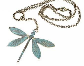 Verdigris Patina Dragonfly Pendant