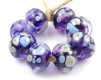 Dizzy Devil - Handmade Artisan Lampwork Glass Beads 8mmx12mm - Purple, Violet, Periwinkle - SRA (Set of 8 Beads)