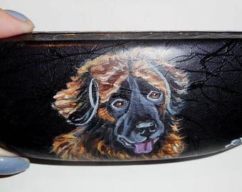 Leonberger Dog Hand Painted Eyeglass Case Vegan