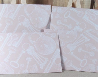 4 Mini A7 Handmade envelopes, pale pink with lock and key patterns. Thank you, Weddings, birthday cash, gift giving, invitation