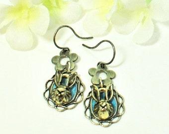 Silver Rabbit Earrings Portrait of a Bunny - Rabbit Jewelry - Bunny Rabbit - Bunny Earrings - Pet Rabbit