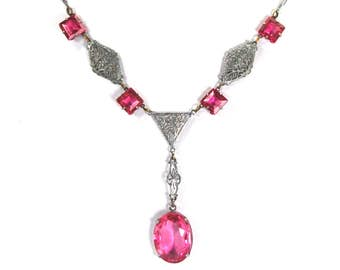 Antique Art Deco Necklace Rhodium Plated Filigree Czech Glass Antique Rose Pink Circa 1920