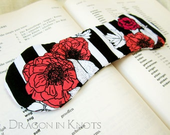 Book Lover Gift - Black and White Striped Book Weight with Bright Pink Flowers, desk decor, paperweight, book accessory