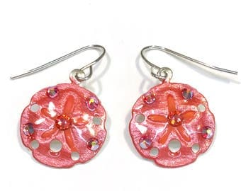 Sand Dollar Earrings Handpainted Pearlescent Icy Coral