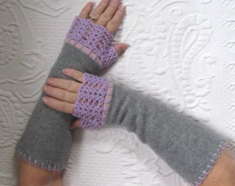 Fingerless Cashmere Gloves  . grey and lilac cashmere . made from reclaimed cashmere Sweaters . grey fingerless gloves