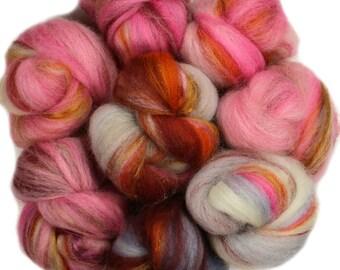 Burnt sugar -- mini batts (2 oz.) BFL wool, bamboo, silk, sparkle.
