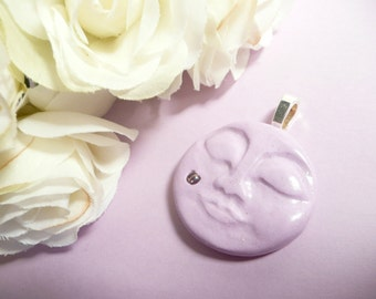 Moon Jewelry, Moon Face Pendant, Lavender Jewelry, Sleeping Moon, optional necklace, whimsical polymer clay jewelry