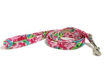 Dog Leash - Rose Dog Leash - Girl Dog Leash - Lilly Pulitzer Inspired - Floral Dog Leash - 4 Foot Leash - 5 Foot Leash - 6 Foot Leash