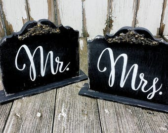 Mr and Mrs Signs | Mr and Mrs Photo Props | Sweetheart Table Decor | Wedding Signs | Rustic Wedding Decor | Chalkboard Signs | Wedding Decor