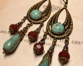 Art Deco Vintage Inspired Bohemian Chandelier Teardrop Earrings in Turquoise and Carnelian Glass