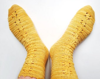 Patron de crochet en PDF pour crocheter votre propre paire de chaussettes Marguerites - tailles femme et grand enfant
